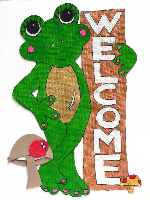 'Ladie Froggie Welcomes You', a watercolor by Katherine Moorehead, at Creations Accessible Art Gallery, the Mental Health Association of Northwestern PA