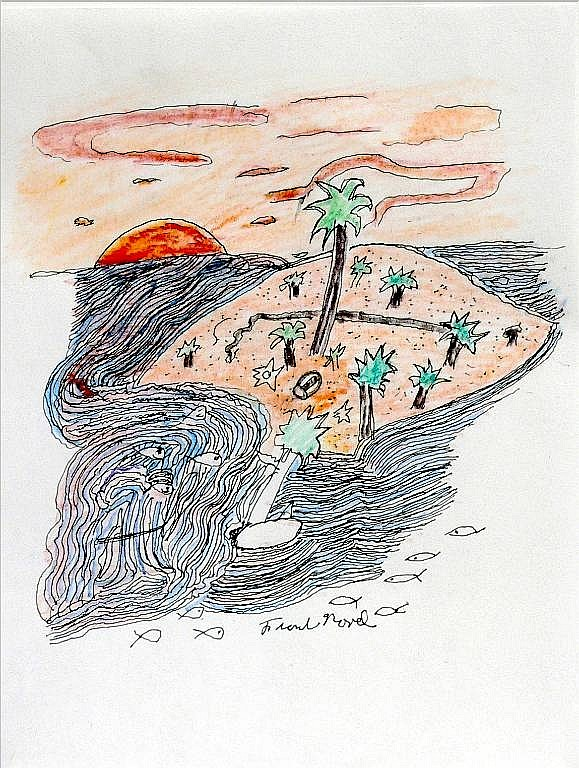 'No Man is an Island', a colored pencil drawing by Frank Novel, at Creations Accessible Art Gallery, the Mental Health Association of Northwestern PA