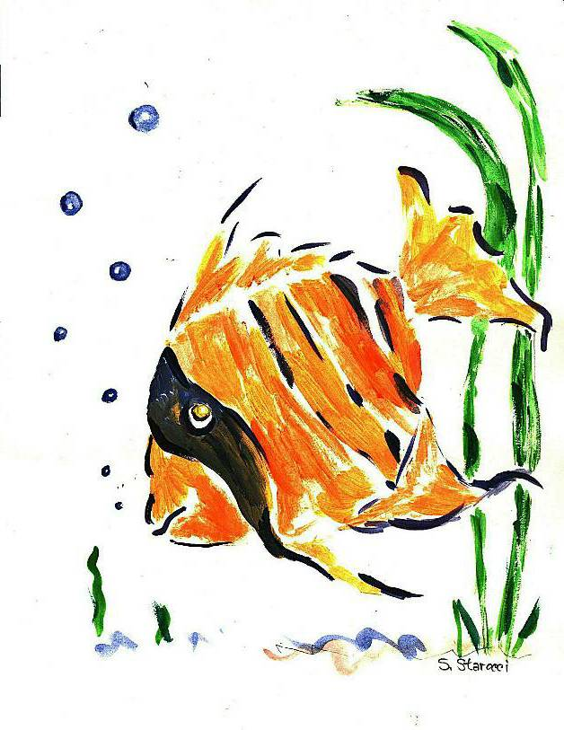 'Angelfish' a watercolor by Sam Starocci, at Creations Accessible Art Gallery, the Mental Health Association of Northwestern PA