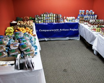 Photo of food distribution tables