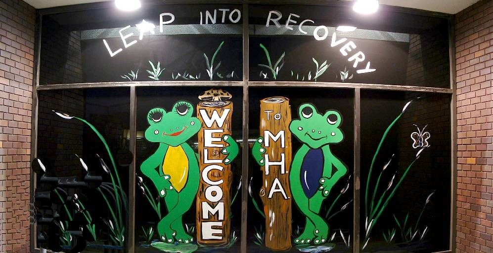 'Frogs', a painted mural by Daniel Toney, at Creations Accessible Art Gallery, the Mental Health Association of Northwestern PA