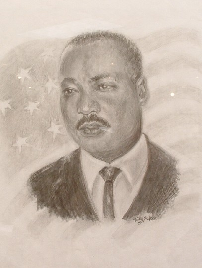 Dr.M.L.King,a pencil drawing by Daniel Toney, at Creations Accessible Art Gallery, the Mental Health Association of Northwestern PA