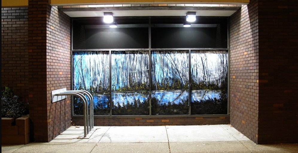 'Wooded Lake', a painted mural by Daniel Toney, at Creations Accessible Art Gallery, the Mental Health Association of Northwestern PA