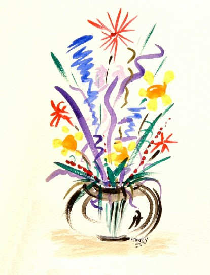 Medium Vase, a watercolor by Daniel Toney, at Creations Accessible Art Gallery, the Mental Health Association of Northwestern PA